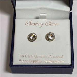 Jewelry - Sterling silver/ White Sapphire/ Diamond Earrings
